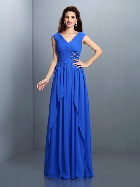 A-Line/Princess V-neck Beading Pleats Dress with Long Chiffon