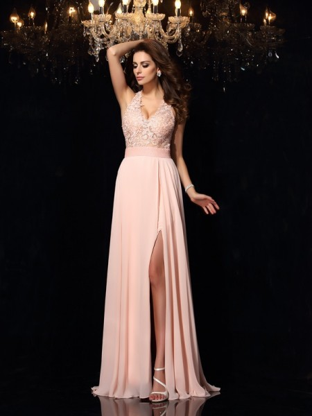 A-Line/Princess Halter Lace Dress with Long Chiffon