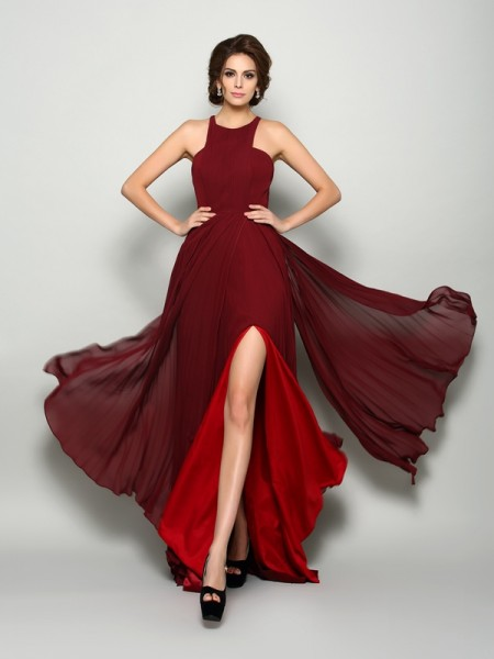 A-Line/Princess High Neck Ruched Mother of the Bride Dress with Long Chiffon