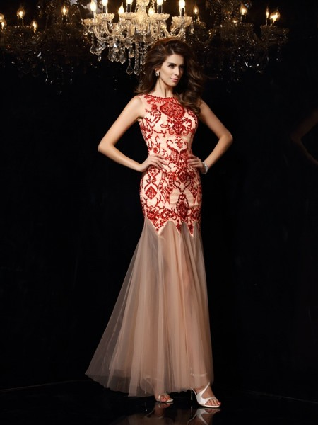 Sheath/Column Scoop Beading Long Satin Dress