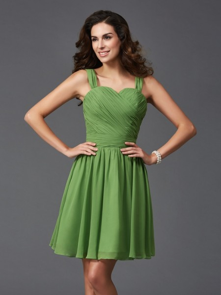 A-Line/Princess Straps Ruffles Short Silk like Satin Bridesmaid Dress