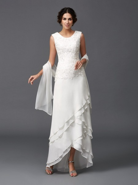 Princess Scoop Lace Asymmetrical Chiffon Mother Of The Bride Outfits