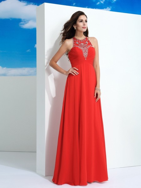 A-Line/Princess Sheer Neck Beading Dress with Long Chiffon
