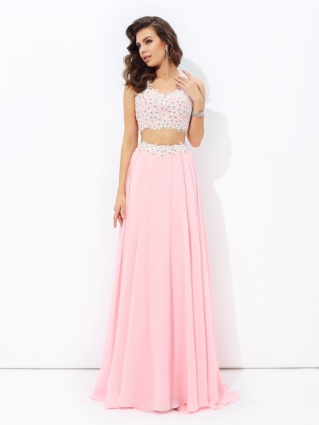 A-line/Princess Straps Applique Chiffon Two Piece Dress