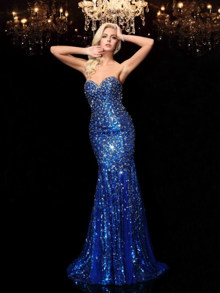 Trumpet Sweetheart Sequins Court Train Dresses