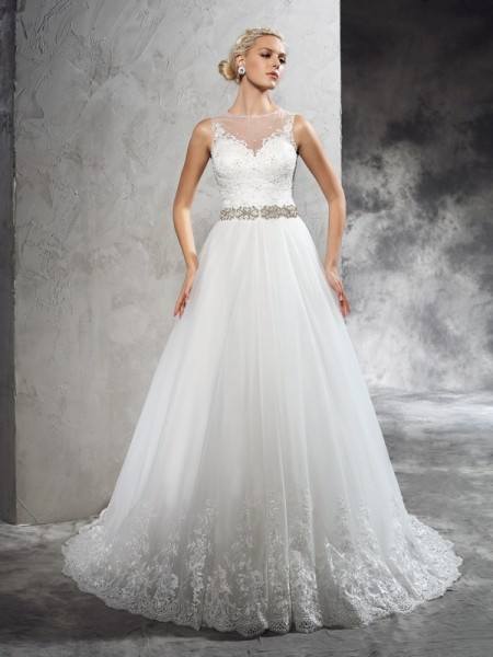 A-Line/Princess Sheer Neck Beading Long Net Wedding Dress