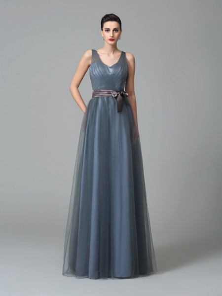 A-Line/Princess Straps Sash/Ribbon/Belt Long Net Bridesmaid Dress