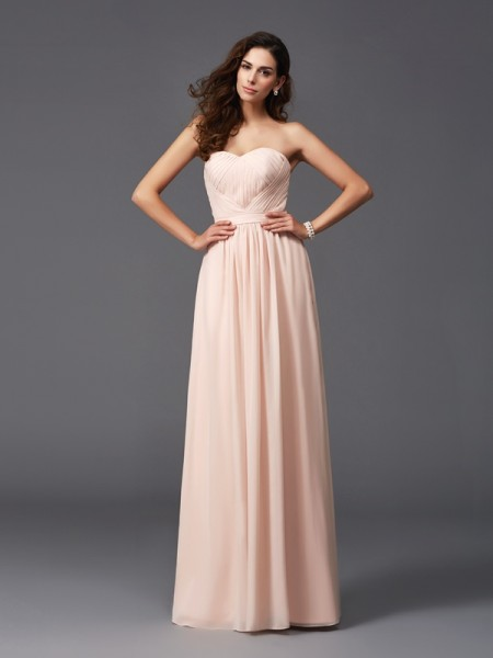 A-Line/Princess Sweetheart Pleats Chiffon Bridesmaid Dress