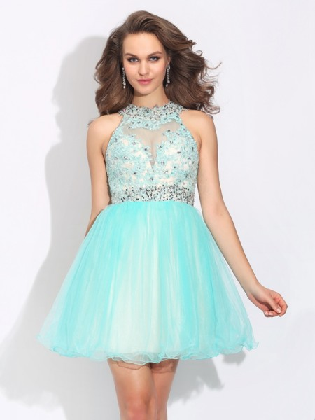 A-Line/Princess High Neck Lace Short Net Dress