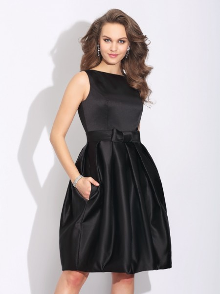 A-Line/Princess Bateau Bowknot Satin Dress