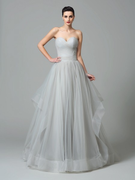 A-Line/Princess Sweetheart Layers Long Net Dress