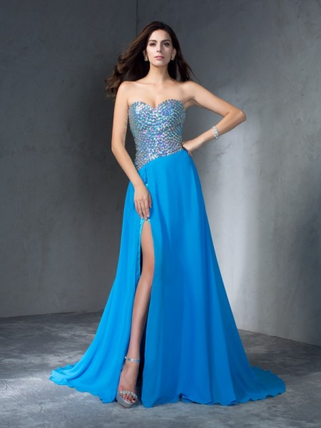 A-Line/Princess Sweetheart Sequin Chiffon Dress