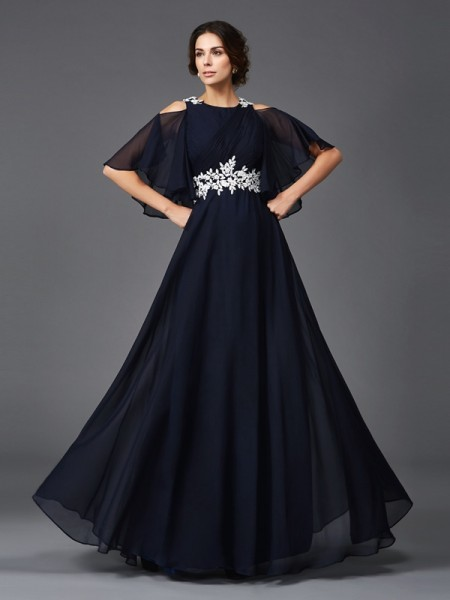 A-Line/Princess Straps Applique 1/2 Sleeves Chiffon Mother of the Bride Dress