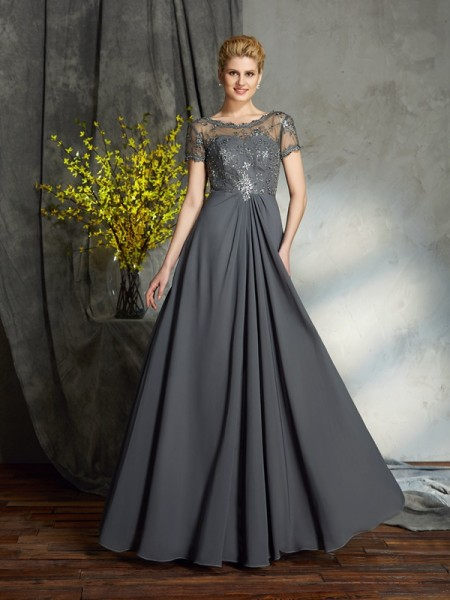 A-Line/Princess Scoop Applique Short Sleeves Chiffon Mother of the Bride Dress