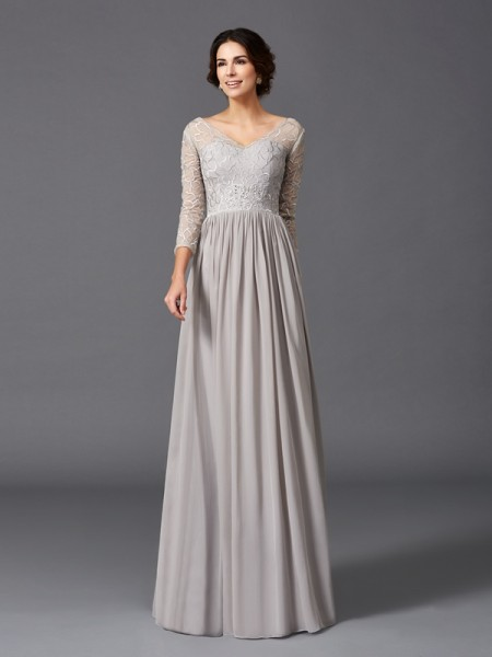 A-Line/Princess V-neck Ruffles 3/4 Sleeves Chiffon Mother of the Bride Dress