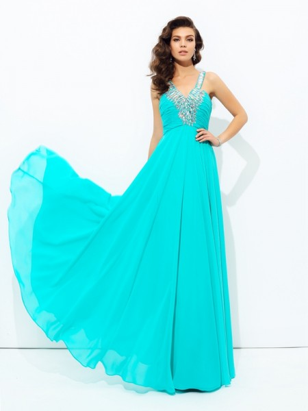 A-line/Princess V-neck Paillette Chiffon Dress
