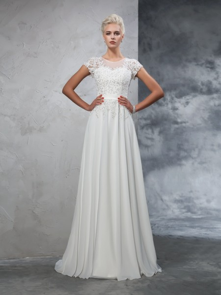 A-Line/Princess Sheer Neck Applique Short Sleeves Chiffon Wedding Dress