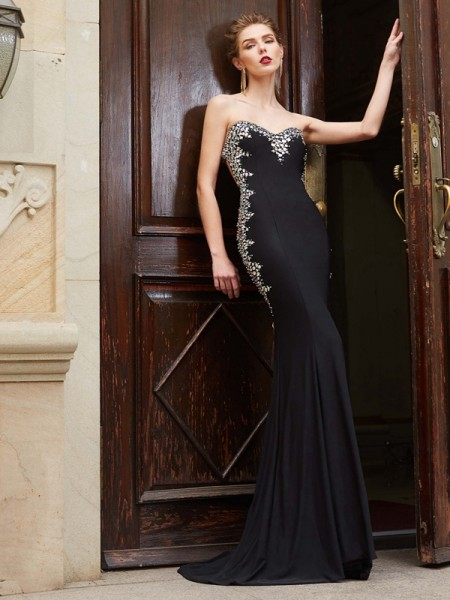 Sheath/Column Sweetheart Sequin Spandex Sweep/Brush Train Dress