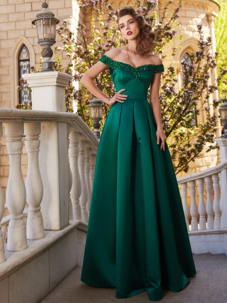 A-Line/Princess Off-the-Shoulder Sequin Satin Floor-Length Dress