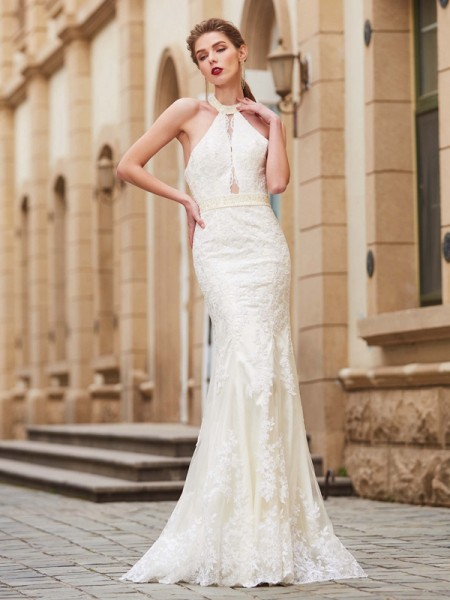 Sheath/Column Jewel Floor-Length Applique Lace Dress