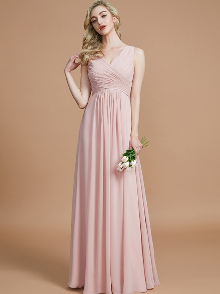 A-Line/Princess Ruched Floor-Length Chiffon Bridesmaid Dresses