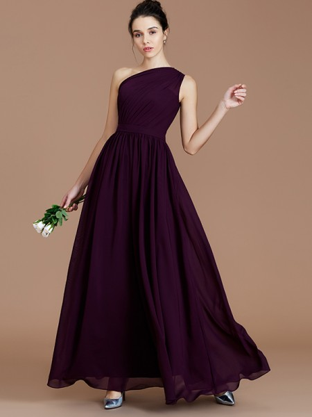 A-Line/Princess One-Shoulder Ruched Floor-Length Chiffon Bridesmaid Dresses