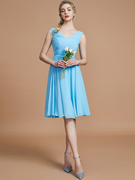A-Line/Princess Ruched Short/Mini Chiffon Bridesmaid Dresses
