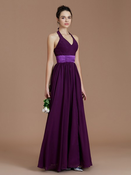 A-Line/Princess Halter Sash/Ribbon/Belt Floor-Length Chiffon Bridesmaid Dresses