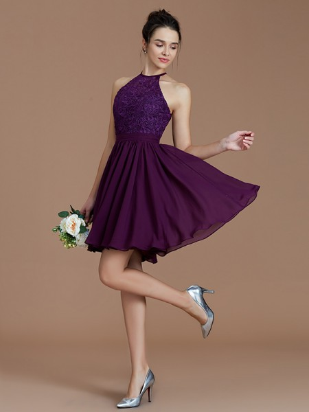 A-Line/Princess Halter Lace Short/Mini Chiffon Bridesmaid Dresses