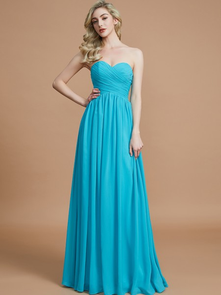 Empire Sweetheart Ruched Floor-Length Chiffon Bridesmaid Dresses
