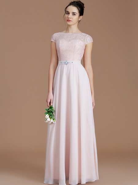 A-Line/Princess Bateau Lace Floor-Length Chiffon Bridesmaid Dresses