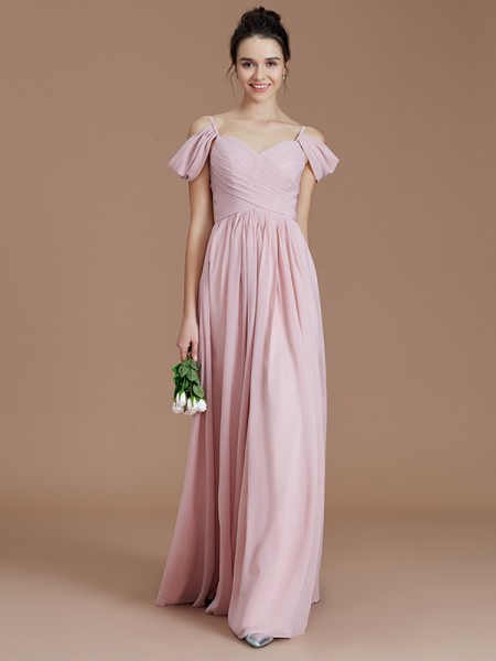 A-Line/Princess Off-the-Shoulder Ruched Floor-Length Chiffon Bridesmaid Dresses