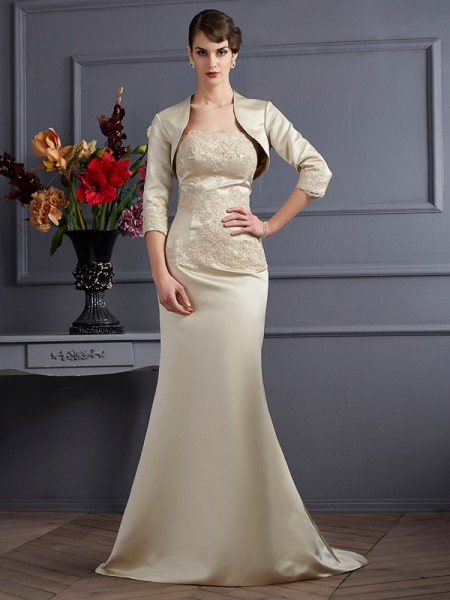 Elegant Satin 3/4 Sleeves Applique Special Occasion Wrap