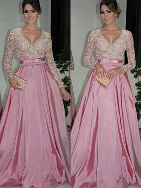 A-Line/Princess Long Sleeves V-neck Floor-Length Lace Satin Dresses