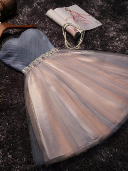 A-Line/Princess Sleeveless Sweetheart Tulle Short/Mini Gown