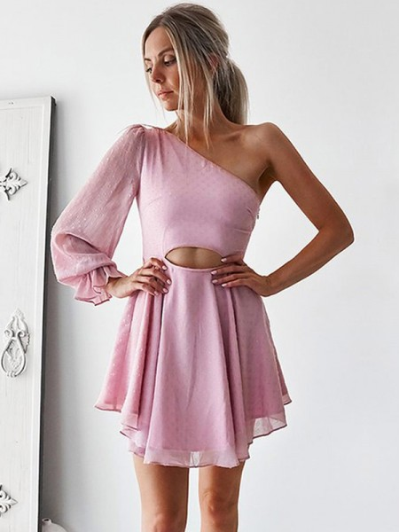 A-Line/Princess Chiffon Long Sleeves Ruffles Short/Mini Gown