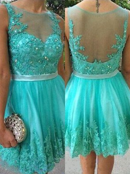 A-Line/Princess Applique Scoop Tulle Sleeveless Short/Mini Gown