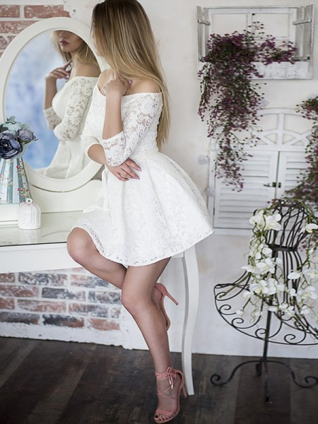 A-Line/Princess Ruffles Lace 3/4 Sleeves Short/Mini Dress
