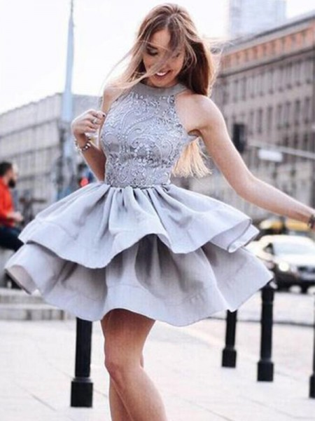 A-Line/Princess Satin Sleeveless Ruffles Halter Short/Mini Dress