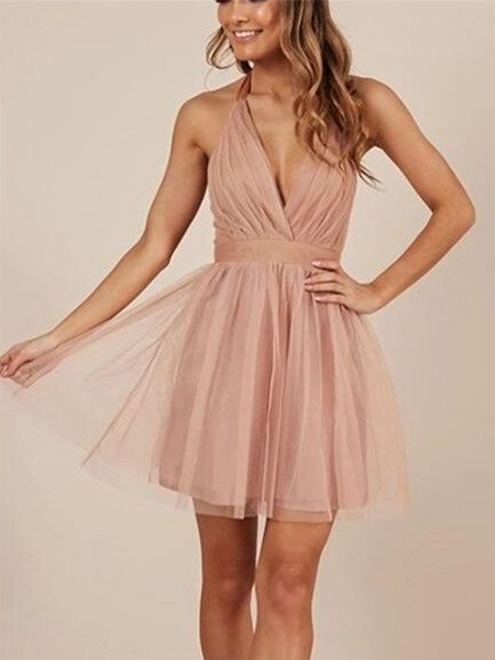 A-Line/Princess Sleeveless Halter Tulle Ruffles Short/Mini Dress