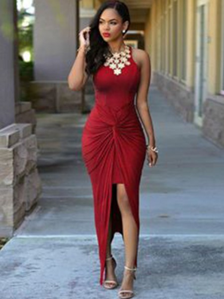 Sheath/Column Sleeveless Ankle-Length Spandex Beading Asymmetrical Dresses