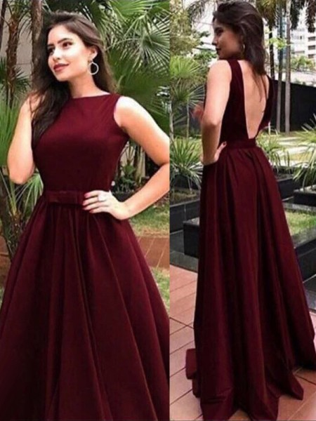 A-Line/Princess Sleeveless Bateau Floor-Length Sash/Ribbon/Belt Velvet Dresses