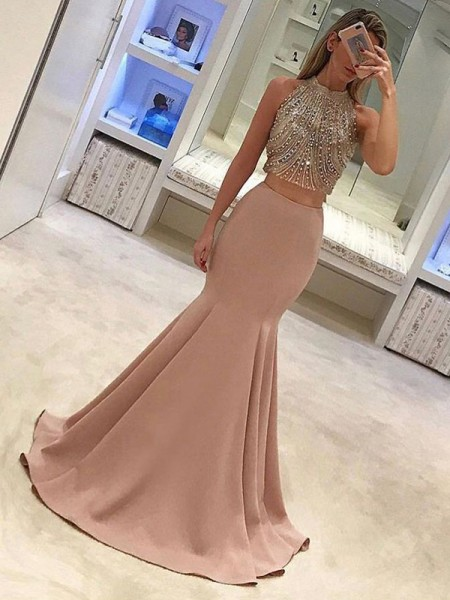 Trumpet/Mermaid Sleeveless High Neck Sweep/Brush Train Satin Two Piece Dresses