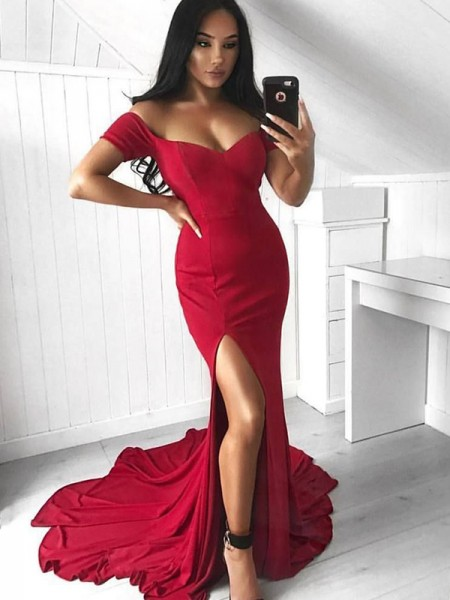 Trumpet/Mermaid Sleeveless Court Train Off-the-Shoulder Ruffles Elastic Woven Satin Dresses