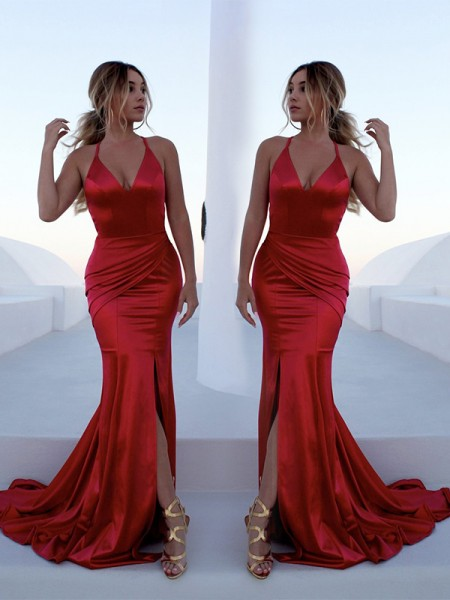 Trumpet/Mermaid Sleeveless Halter Ruffles Sweep/Brush Train Satin Dresses