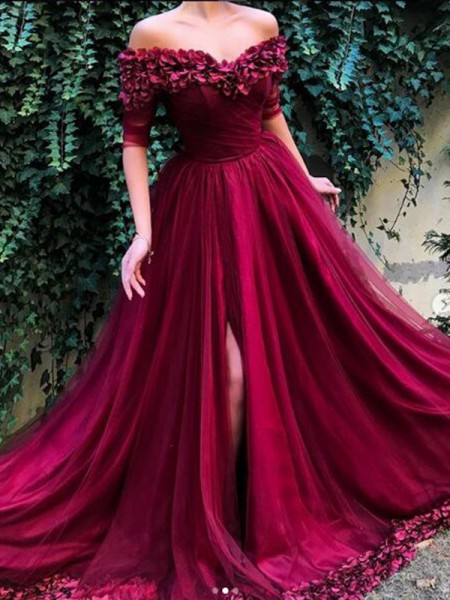 A-Line/Princess 1/2 Sleeves Sweep/Brush Train Off-the-Shoulder Ruffles Tulle Dresses
