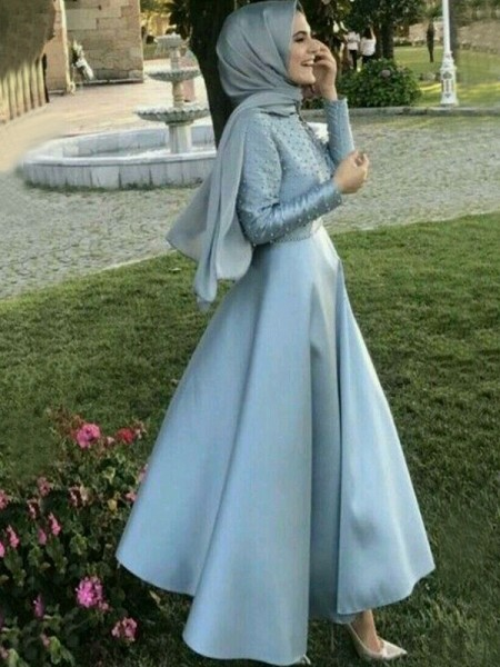 A-Line/Princess Sweep/Brush Train Floor-Length Scoop Beading Satin Muslim Dresses