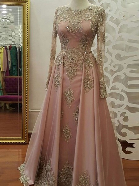 A-Line/Princess Sweep/Brush Train Floor-Length Scoop Applique Tulle Muslim Dresses