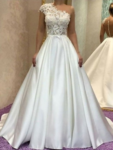 A-Line/Princess One-Shoulder Sleeveles Lace Sweep/Brush Train Satin Wedding Dress