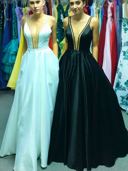 A-Line/Princess V-neck Sleeveless Ruffles Floor-Length Satin Dress